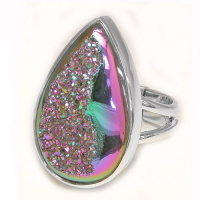 Forest Window Druzy Teardrop Ring