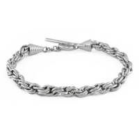 Twisted Silver Chain Bracelet with Toggle Clasp