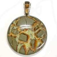 Septarian Marble Pendant with Tiger and Brown Shell Inlaid Bale