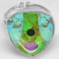 Turquoise, Gaspeite, Sugilite & Jet Inlay Ring