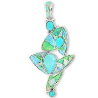 Sleeping Beauty Turquoise and Created Opal Inlay Pendant