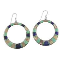 Lapis, Opal, Turquoise, Shell Inlay Hoop Earrings