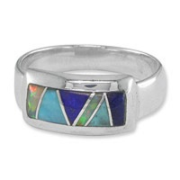 Turquoise, Lapis and Created Opal Inlay Ring
