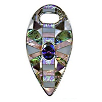Inlaid Cultured Opal,Sugilite Shell & Quartz Pendant One-Of-a-Kind