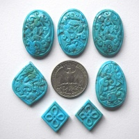 Hand-Carved Compressed Turquoise Various Sizes and Shapes Set of 7
