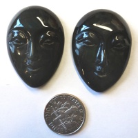 Offerings Sajen Two 26x35mm Hand-Carved Rainbow Obsidian Oval Goddess Faces