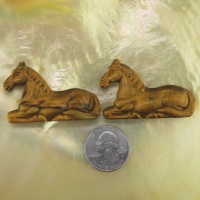 Offerings Sajen Two 34x50mm Horses Carved from Natural Tiger Eye