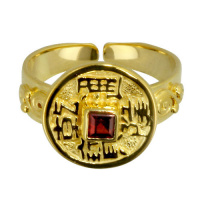 Gold-Plated Chinese Coin & Garnet Open-Back Vermeil Ring