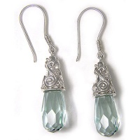 Faceted Created Green Obsidian Drop Earrings