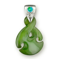 Jade and Caribbean Quartz Pendant