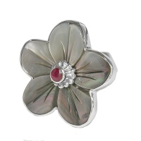 Black Mother Of Pearl & Ruby Flower Ring