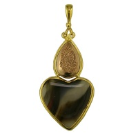 Montana Agate Heart and Rose Gold Druzy Vermeil Pendant