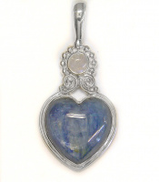 Kyanite Heart Pendant with Rainbow Moonstone