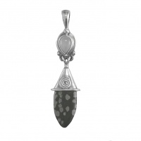 Snowflake Obsidian & Moonstone Pendant with Chain