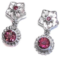 Pink Mother of Pearl Flower, Pink Topaz & Ruby Post Earrings