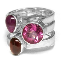 Pink Topaz, Garnet and Ruby Ring