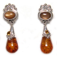 Amber, Sunstone and Citrine Silver Post Earrings