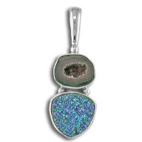 Geode and Green Druzy Pendant