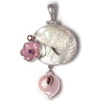 Mother of Pearl Fish Pendant with Rhodochrosite Flower, Calla Lily and Garnet