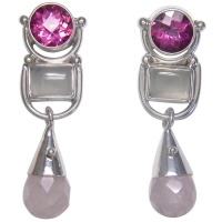 Pink Topaz, Moonstone and Rose Quartz Post Earrings