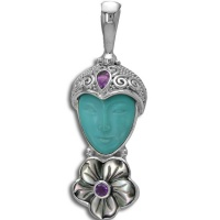 Turquoise Goddess Pendant with Rainbow Mother of Pearl Flower and Amethyst