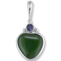 Jade Carved Heart Pendant with Iolite