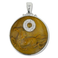 Tiger Eye Horse Pendant with Amber