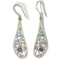 Sterling Silver Blue Topaz, Apatite and Iolite Earrings