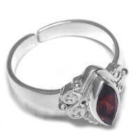 Sterling Silver Garnet Marquis Ring