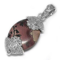 Pink Moss Agate Silver Pendant