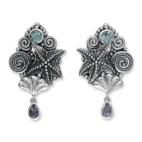 Sterling Silver Seashell and Starfish Earrings with Blue Topaz and Iolite
