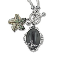Sterling Silver and Black Shell Starfish Necklace with Black Onyx