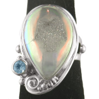 Opalized Window Druzy and Swiss Blue Topaz Ring