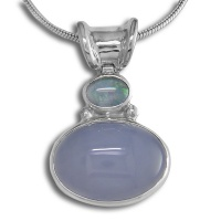 Blue Chalcedony & Opal Doublet Pendant with Chain