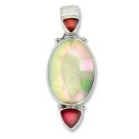 Opalized Window Druzy & Magenta Frosted Quartz Pendant