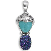 Sterling Turquoise Goddess Pendant with Caribbean Druzy