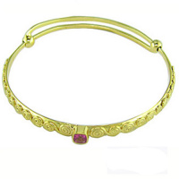 Vermeil Pink Topaz Adjustable Bangle Bracelet