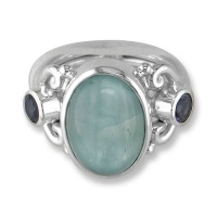 Aqua Blue Calcite & Iolite Ring