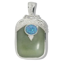 Jade and Green Druzy Pendant
