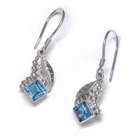 Sterling Silver Leaf & Bead Earrings with Swiss Blue Topaz