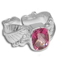 Pink Topaz Leaf Design Ring
