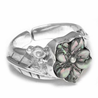 Paua Shell Flower Ring