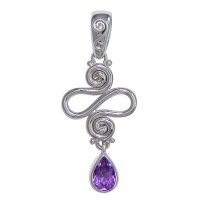 Squiggle Pendant with Amethyst Pear Drop