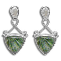 Seraphinite and Moonstone Post Earrings