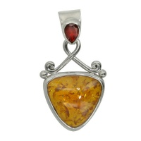 Amber and Garnet Pendant with Enhancer Bale
