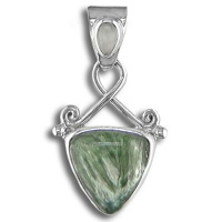 Seraphinite and Moonstone Pendant with Enhancer Bale
