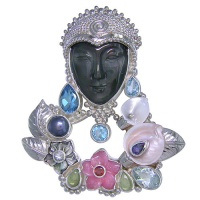 Rainbow Obsidian Goddess Pin-Pendant with Multi-Gemstones, Pearl and Shell
