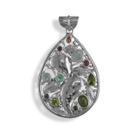 Multi-Gemstone Sterling Silver Leaf Pendant