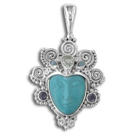 Turquoise Goddess Pendant with White Topaz, Opal Doublets and Iolte