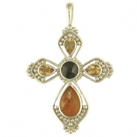 Garnet, Citrine and Amber Cross Pendant